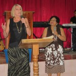 Pastor Kathleen speaking at the church service